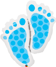 Blue Baby Footprints Foil Balloon